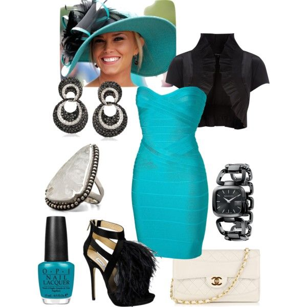 kentucky derby by tiggerslittlechamp on Polyvore featuring Hervé Léger, Chanel, Pamela Love, Gucci and OPI