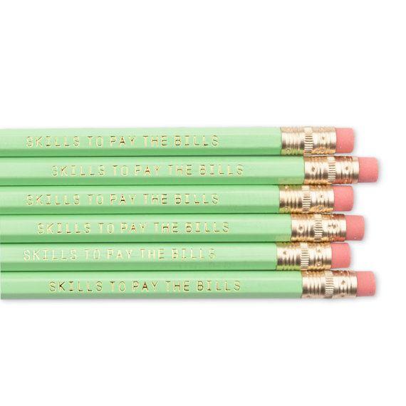 CAPACIDAD PARA PAGAR los lápices de facturas. Set de lápiz rellenador de siembra. Regreso a la escuela suministra. Lápices literarias. Oro frustrado lápices. Divertidos lápices.