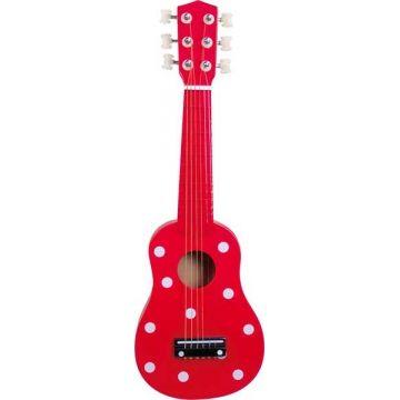 Guitare rouge à pois - Ulysse Guitare en bois pour enfant