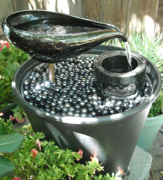 Garden Fountain Water Feature From Upcycled Thrift Store