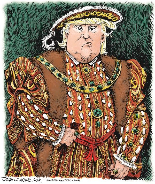 """""""Trump as King Henry VIII"""" By Daryl Cagle.. Notice that Trump, and Henry VIII have both """"TINY HANDS"""" and a little purse...。"""