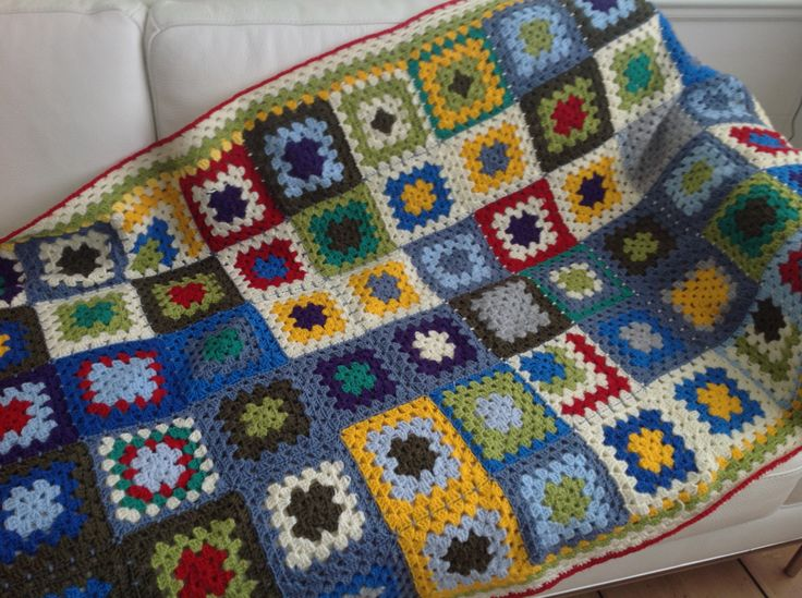 Crocheted afghan, love the colours