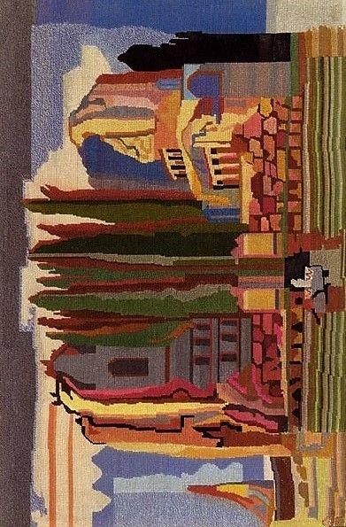 Vally Wieselthier (österreichisch, 1895 - 1945) Titel:     Klöppelbild: Landschaft  Medium:     linen Größe:     55 x 36 cm (21,7 x 14,2 in)