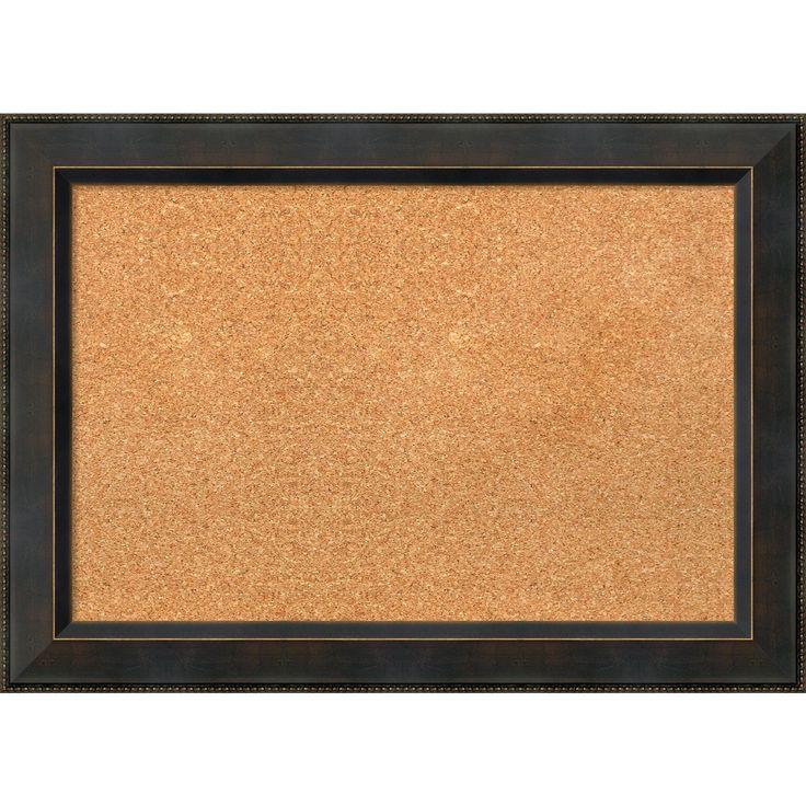 Amanti Art Framed Cork Board, Signore Bronze