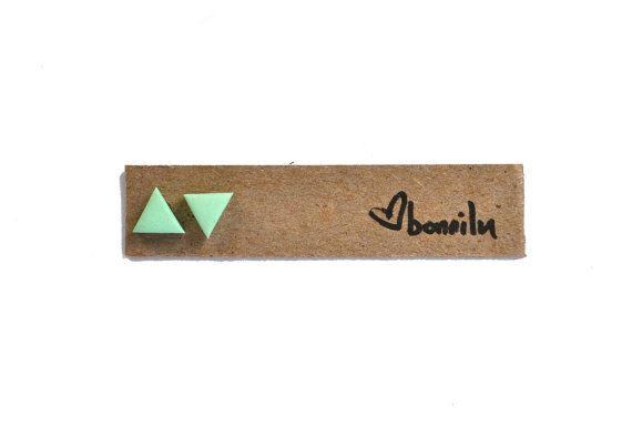 mint green  SMALL triangle earrings  matte polymer clay by bonnilu