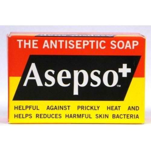 "Asepso+ the Antiseptic Soap, 2.8 Oz / 80 G (Pack of 8) by Asepso. $9.95. Asepso Soap was first developed by the Edward Cook Company in London in the 19th Century.It was one of the first ""antiseptic soaps"" and soon became synonymous with alleviating skin infections, reducing bacteria on the skin and most importantly, in the early 1900's with the of expansion and development in tropical areas, the alleviation of the effects of prickly heat. The brand remains to this day true t..."