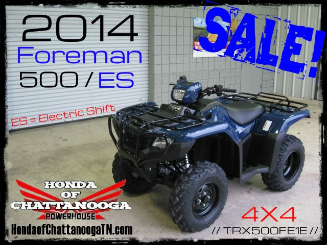 2014 Foreman 500 TRX500FE1E SALE Price at Honda of Chattanooga is too Low to advertise. Visit www.HondaofChattanoogaTN.com or Call / Email Kevin for the lowest & best 2014 Foreman 500 4x4 ATV Sale Price. Our 2014 Foreman ES 500 ATVs are in stock and we have special financing promotions with $0 DOWN and 90 Days NO Payment on our 2014 Honda ATVs.TRX500FM1E / TRX500FM2E / TRX500FE1E / TRX500FE2E. Wholesale Honda Prices at Honda of Chattanooga TN GA AL ATV Dealer