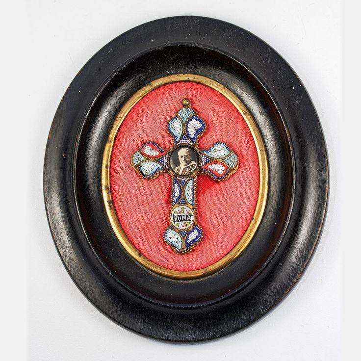 Rome Micromosaic Crucifix, Pope Pius XI, in Antique Napoleon III Frame, Micro Mosaic