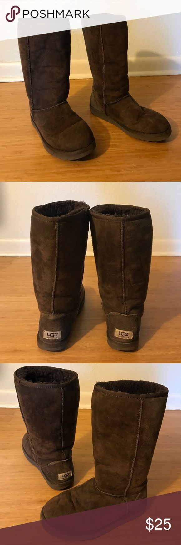 UGG Boots! Brown Classic Tall UGG boots, size 7 In great shape! Size 7, dark brown UGG boots. UGG Shoes Winter & Rain Boots