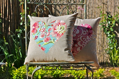 """Love"" pillows - The are a simple, but sweet design - a single heart, raw-edge appliqued onto linen and finished with running stitch."