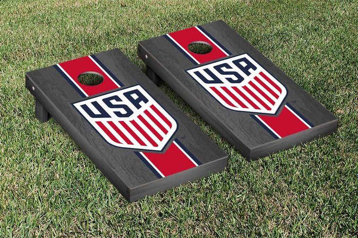 US Soccer Regulation Cornhole Game Set Onyx Stripe Version