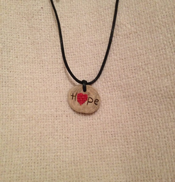 $12.00 Handmade Woodburned Hope Pendant with Burlap by FireWoodCrafts, $12.00