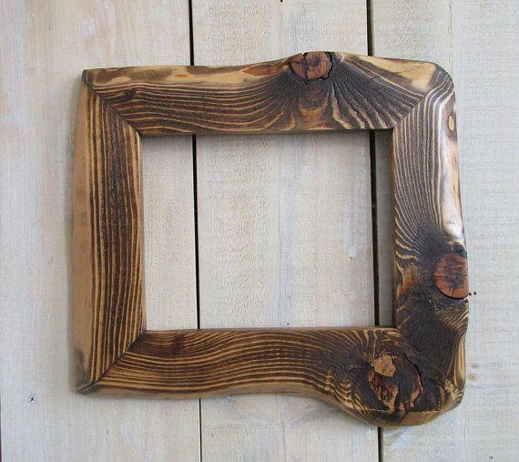 8x10 Live Edge Frame Handmade Rustic Wood Frame Live Edge Wood Special Walnut Stain Art Frame Rustic Wood Barn Wood Frames Rustic Wood Frame Rustic Frames