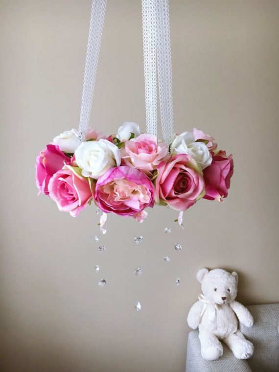 Flower chandelier, Baby flower mobile, Floral mobile, Flower mobile with…