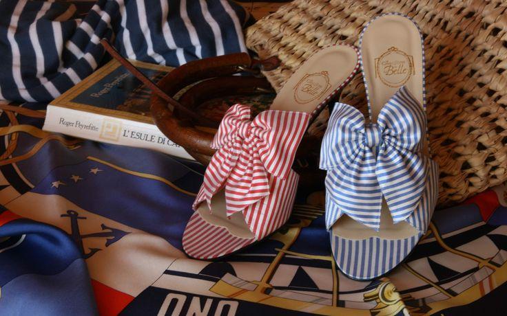 """Capri"" & ""Deauville"" - red & blue silk stripes http://store.leschaussonsdelabelle.com"