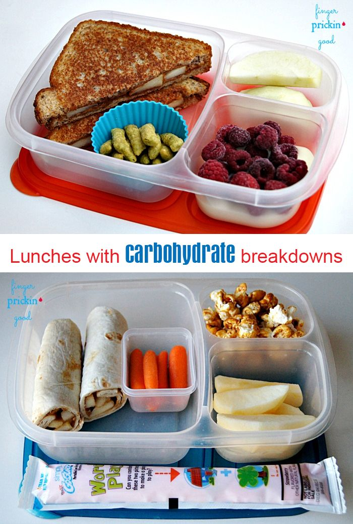 Packed lunch ideas with carb counts on each one @prickingood. #diabetic #carbohydrates