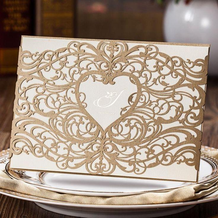 Ouro elegante Laser Cut coração do convite do casamento frete grátis em Materiais para festas & comemorações de Casa e Jardim no AliExpress.com | Alibaba Group