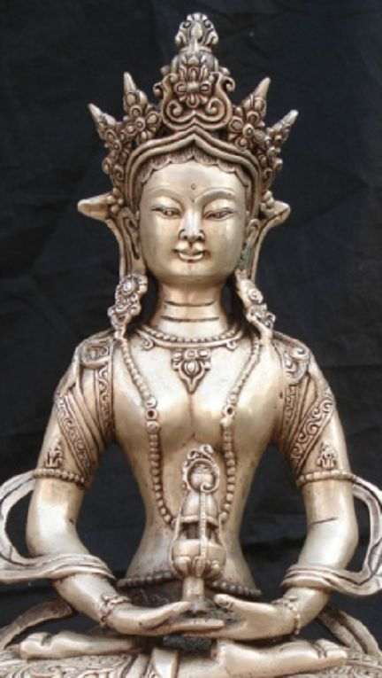 Tibetan Silver Amitayus Bodhisattva Buddha Statue. Amitābha is the principal buddha in the Pure Land sect, a branch of Buddhism practiced mainly in East Asia, while in Vajrayana Amitābha is known for his longevity attribute and the aggregate of distinguishing (recognition) and the deep awareness of individualities.