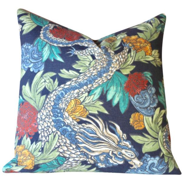 Ming Dragon Pillow Cover in Light or Dark Blue Asian Pillow Cover... ($22) ❤ liked on Polyvore featuring home, home decor, throw pillows, dark blue, decorative pillows, home & living, home décor, dark blue throw pillows, navy home decor and navy blue home decor