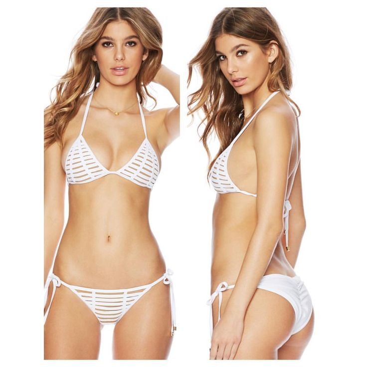 BEACH BUNNY SWIMWEAR HARD SUMMER TRIANGLE TOP & HARD SUMMER SKIMPY TIE SIDE BOTTOM WHITE www.splashtribe.com
