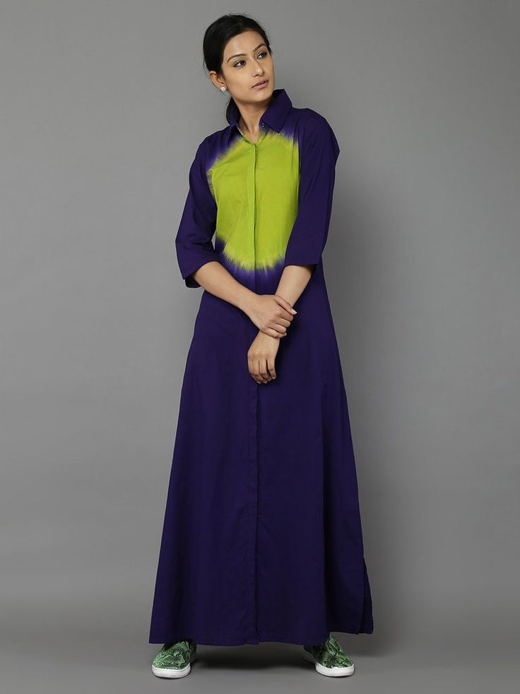Purple Green Cotton Dress