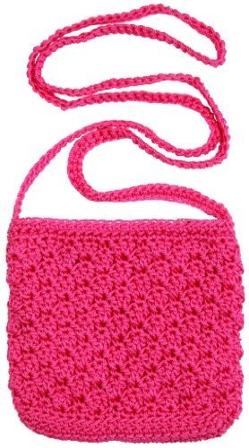 Hot Pink Crochet Little Girls Purse With Long Strap And
