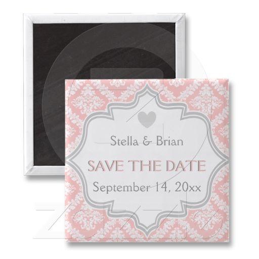 Elegant pink, grey damask wedding Save the Date Magnets, part of a wedding set.