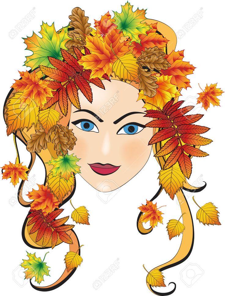 девушка осень рисунок для детей #4