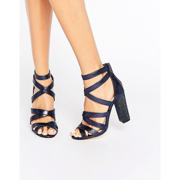 Miss KG Flick Strappy Detailed Heeled Sandals ($128) ❤ liked on Polyvore featuring shoes, sandals, navy, navy blue sandals, navy strappy sandals, ankle strap high heel sandals, ankle strap shoes and strappy high heel sandals