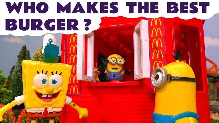 Despicable Me 3 Minions McDonalds Drive Thru Burger vs Spongebob Krabby ...