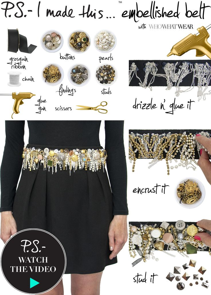 DIY embellished belt with chains, pearls, and studs. Very cool, though I'm not sure how well ribbon would stay on as a belt