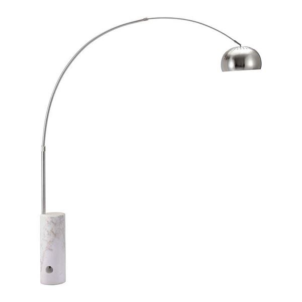 The simple arc and globe shade design on this zuo modern 50037 trion floor lamp is updated by its polished chrome finish a sleek white marble base adds