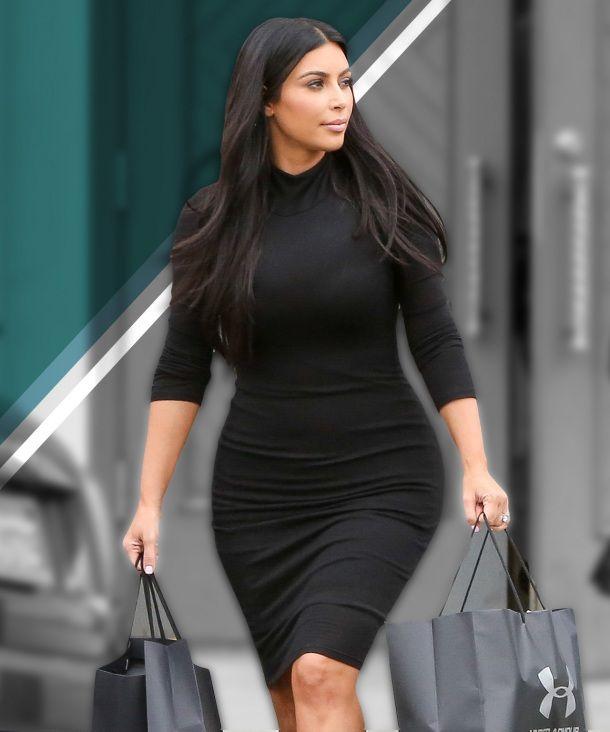 Kim Kardashian in a bodycon black dress