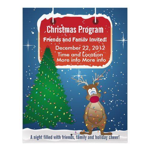 free changeable christmas tree flyers | Reindeer Christmas Program Flyer flyer
