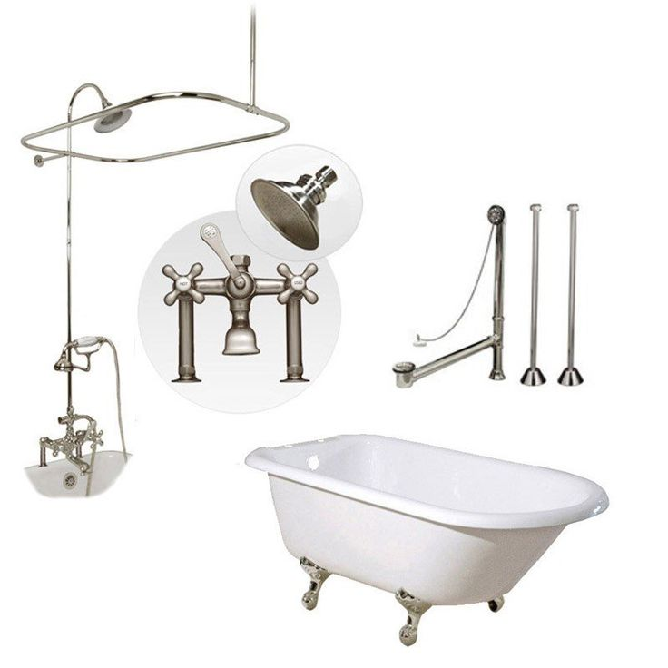 Randolph Morris Clawfoot Tub and Shower Package - 54-inch Cast Iron Clawfoot Tub with Fixtures