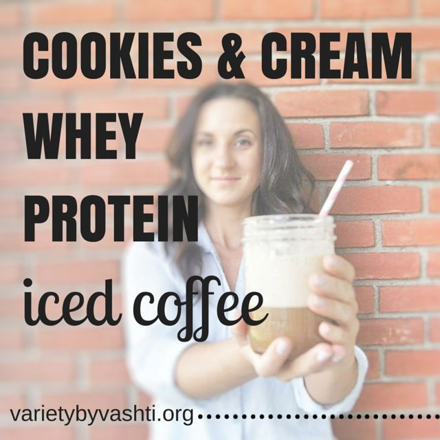 #ad Cookies & Cream Protein Iced Coffee with Isopure whey protein isolate, coffee and ice!  Recipe in full post!  #21DayFix approved!  (1 red)
