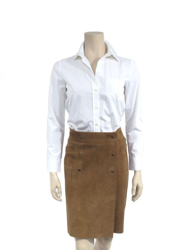 Louis Vuitton Suede Skirt in tan www.sabrinascloset.com