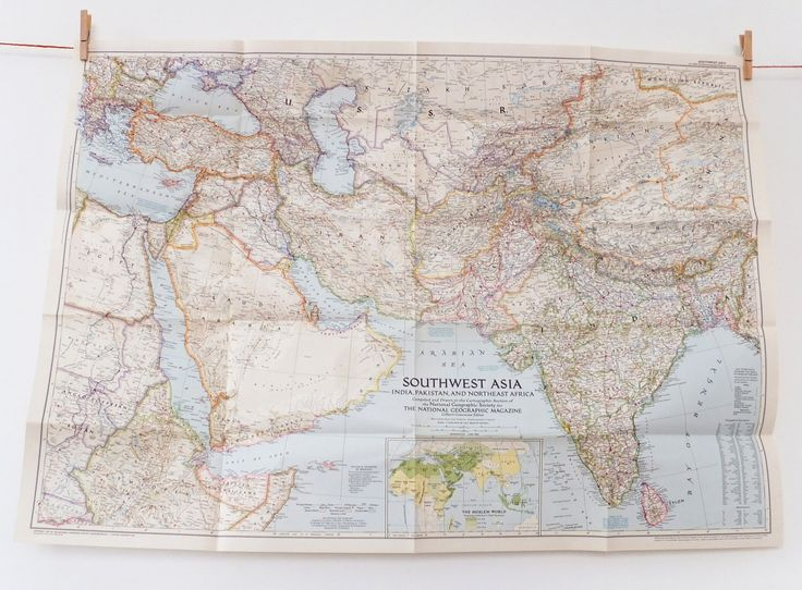 Southwest Asia Map, National Geographic Map, 1952, Pakistan, North East Africa, India, Old Map, Large Vintage Map by PeonyandThistle on Etsy https://www.etsy.com/listing/168995779/southwest-asia-map-national-geographic