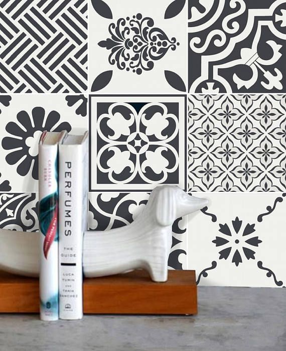 trendy tile stickers vinyl decal waterproof removable for kitchen bath wall floor or stair wmix. Black Bedroom Furniture Sets. Home Design Ideas
