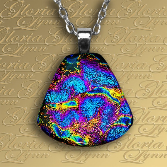 Fused Dichroic Glass Pendant Jewelry Fused by GloriaLynnGlass, $16.00