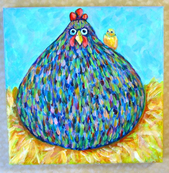 Fat chicken with chick original acrylic painting, Blue hen with yellow chick on nest 8x8 original painting, folk art chicken,