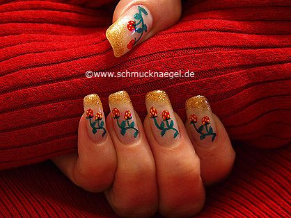 Nail art motivo 268 - Fresa arbustos para decoración de uñas - http://www.schmucknaegel.de/