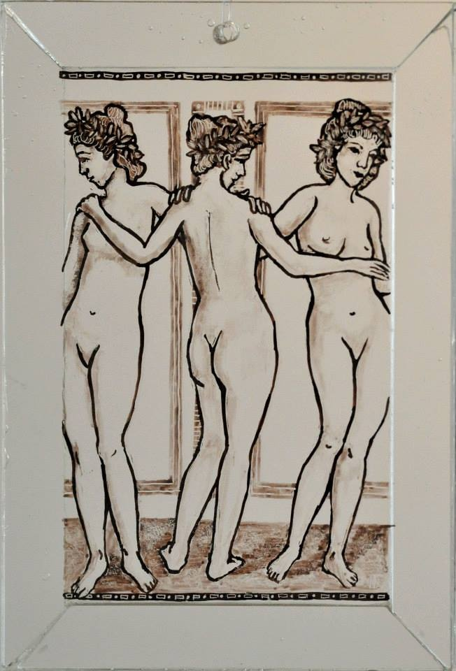 Nemeth Hajnal Aurora: The three Graces, fresco from POmpeji, classic glass painting,Classic glass painting technique, in glass frame,from the POMPEI 2.0 exhibition/ A három grácia, Pompeji freskó...Klasszikus ólomüveg festés technika, üveg keretben/