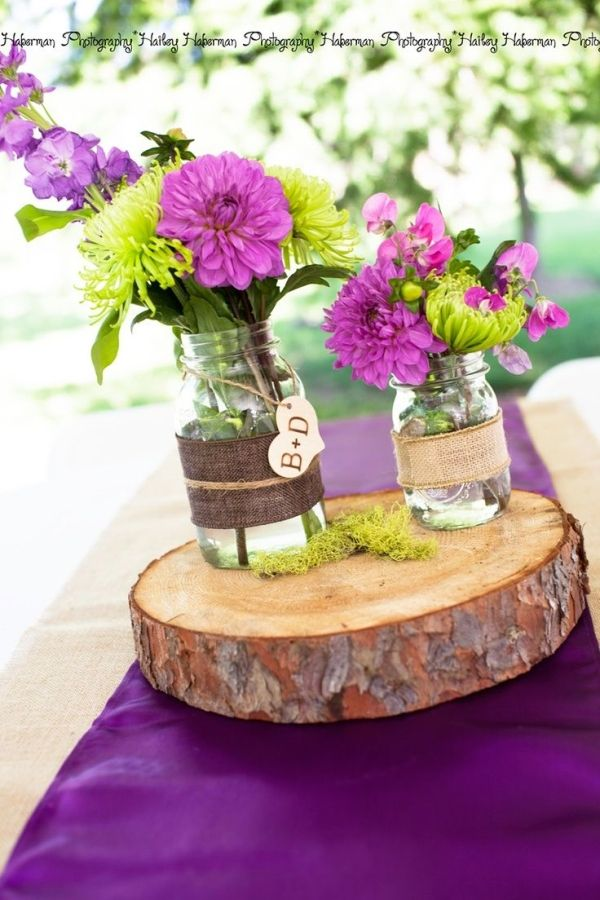 42 best rustic purple wedding theme images on pinterest wedding rustic purple wedding centerpiece idea monogram mason jars rustic wood centerpiece not those colors junglespirit Choice Image