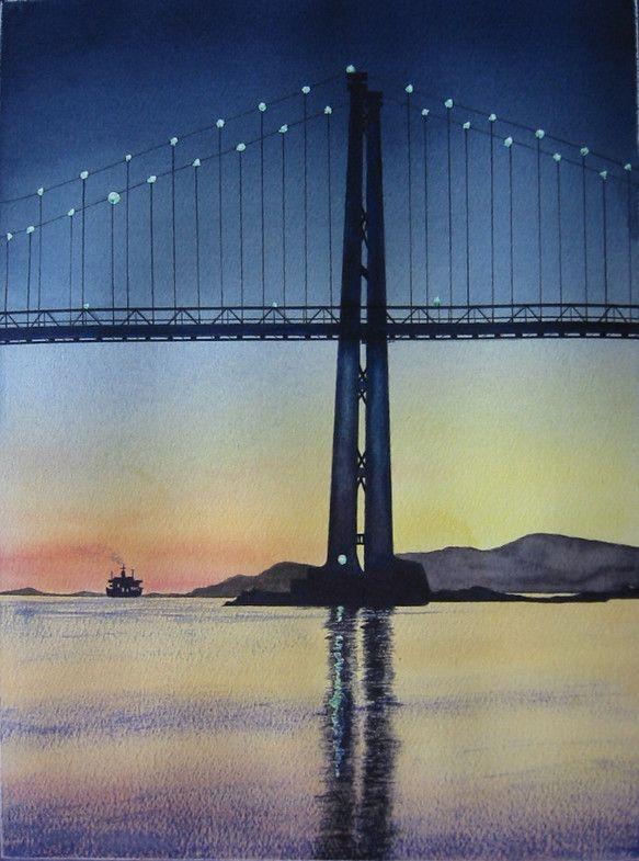 この作品は、バンクーバーのランドマーク、ライオンズ•ゲート•ブリッジの黄昏時の様子を描いた物です。海の彼方に見える島は、バンクーバー島。鏡...|ハンドメイド、手作り、手仕事品の通販・販売・購入ならCreema。