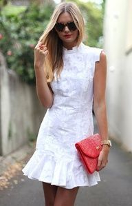 white with a pop of red