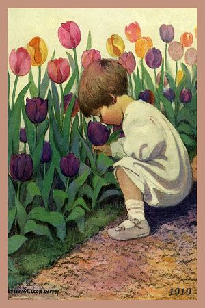 Olde America Antiques | Quilt Blocks | National Parks | Bozeman Montana : Jessie Willcox Smith - Toddler Smelling Tulips