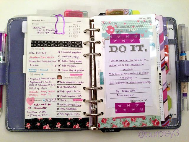 My Purpley Life: My Filofax Week #7...like the tabs shd bought in her post.