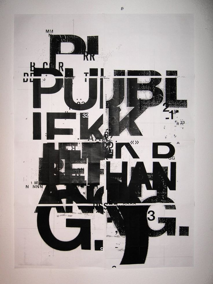 Public Space Poster. This works for me because while at first glance it may appear to be a chaotic mess, there is upon closer examination a sense of order, hierarchy, and structure. It's almost delicate, in the sense that eliminating or changing one part would throw off the rest.