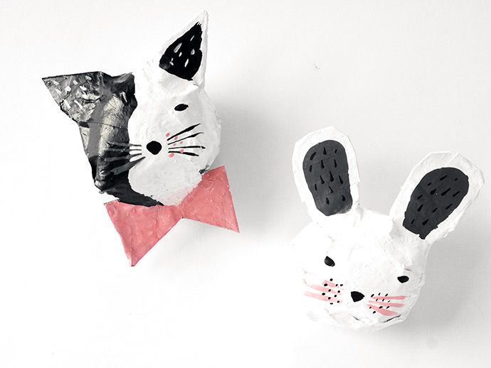papier-mâché  animal heads